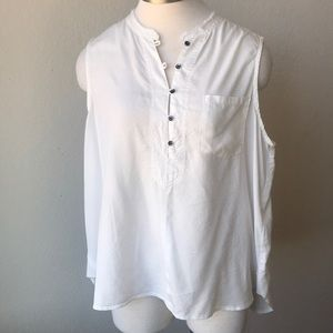 NWT William Rast white button down star tank